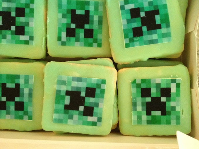 Creeper Cookies we had made for MineCon - What Fun!