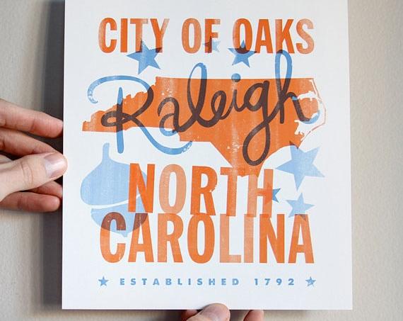 "8""x9"" City of Oaks Print by Raleigh Business, Dapper Paper"