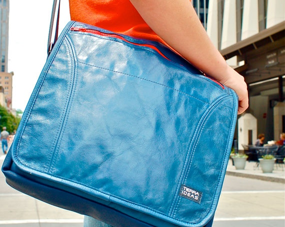 Recycled Airplane Leather Laptop Bag from Raleigh Based Tierra Ideas