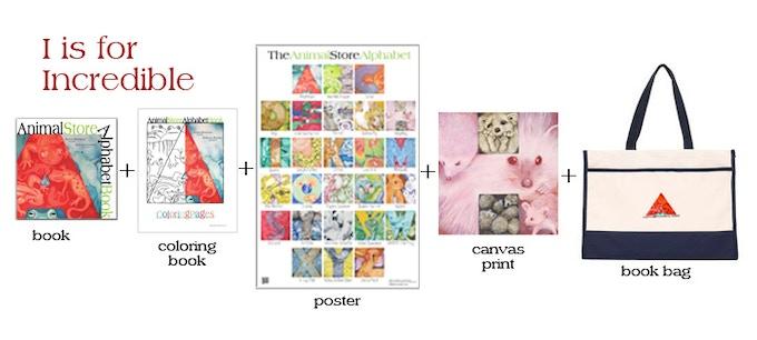1 book + 1 coloring book + 1 poster + 1 canvas print + 1 book bag