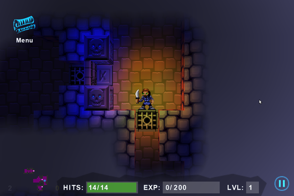Character playing as a Thief, making his way into an unknown part of the dungeon
