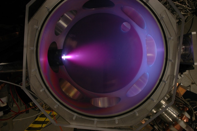 Figure 3 : Open shutter image of an approximately 10 microsecond long plasma pulse in visible light.