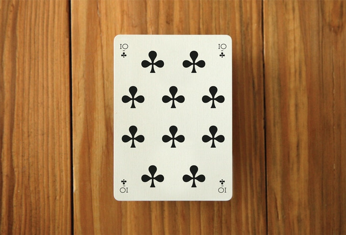 A mock up of a number card. The 10 of Clubs