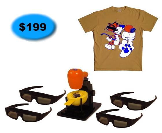 Tiger Cam System with four pairs 3D Glasses + T Shirt