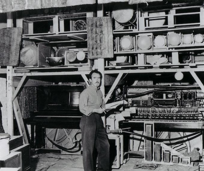 Conlon Nancarrow in his Mexico City studio