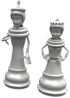 Their royal highnesses, the King & Queen of Chess Peeps