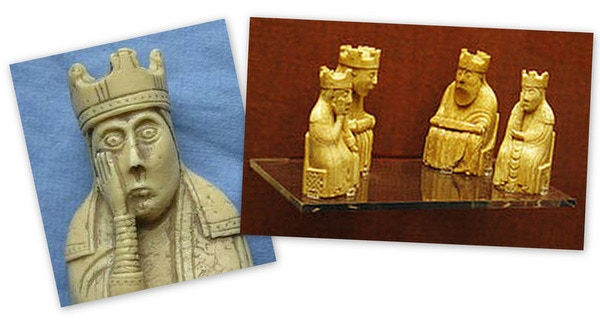 "On display in the British Museum, the ""Lewis Chessmen"" are a 12th century set of chess pieces carved from walrus ivory."