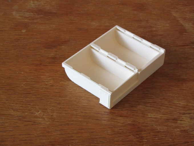 The Bit Pit (3D Printer) without lids. Notice the bevel for easy piece removal - great for use as an in-game tray!