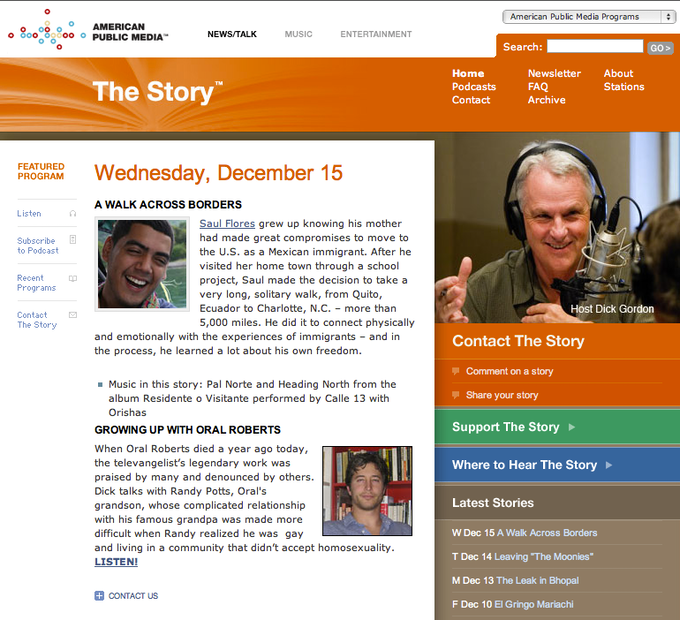 LISTEN to the interview by Dick Gordon on the Story via NPR