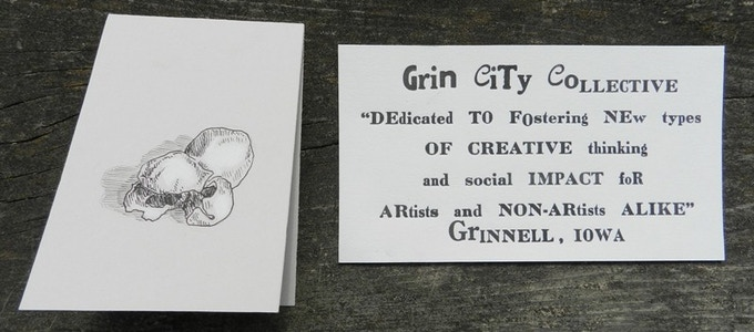 All backers at the $5 or higher level will receive either a Popcorn mini-card by Jack Whisenant '11 or a Grin City postcard by Sophie Radl '12
