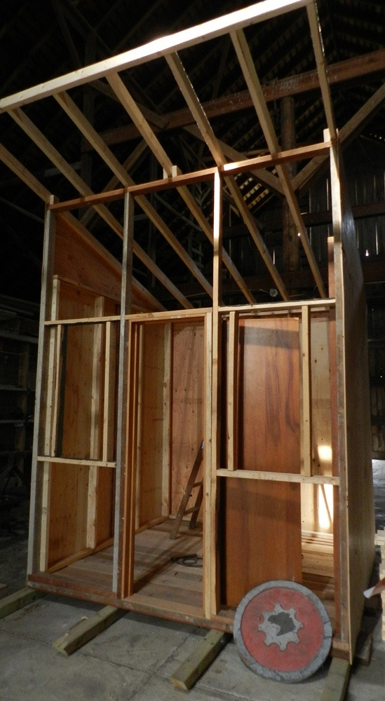 Our first Nano Structure still in progress. This 8'x8' mini-studio is built on skids to be transported to any part of the Grin City property. Have one built for Grin City with your name and style in mind! ($2,000 level)