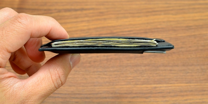 Side profile (with five cards and seven bills)