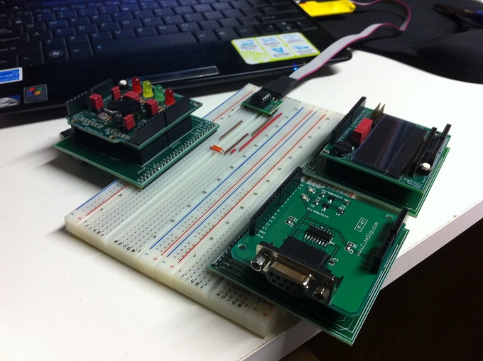 Three shields plugged into breadboard with three Shield-Adapters