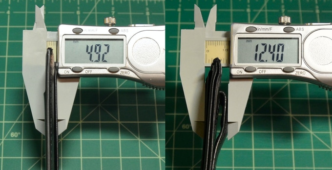 Thickness comparison in millimeters: Minimalist™ (left), Standard money-clip card-case wallet (right)