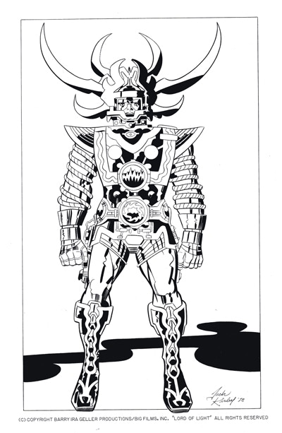 One of our t-shirt designs - original Jack Kirby illustration of Sam, the hero of Lord of Light