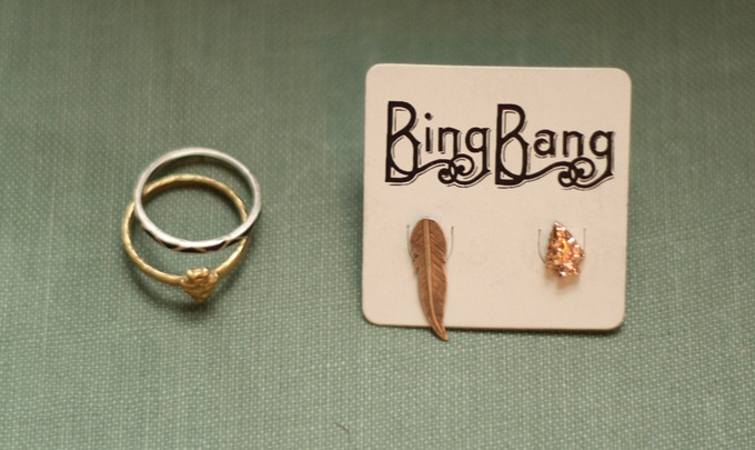 Twin arrows ring and arrow studs. Bing Bang for LDBA