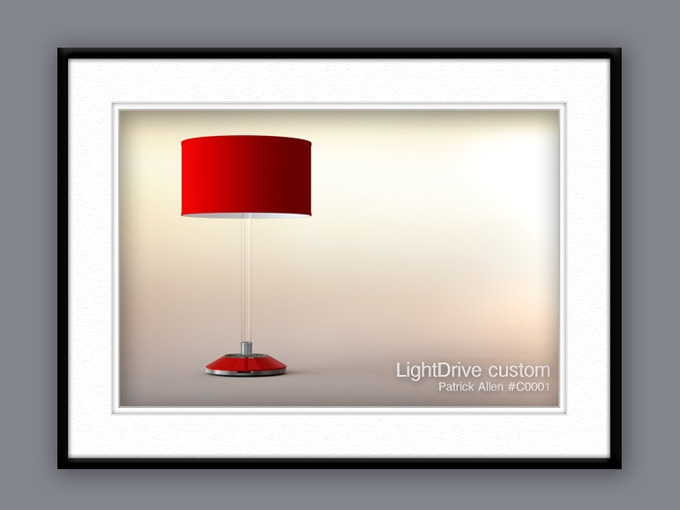 With Every Custom LightDrive, We'll Include a Framed Full Color Print of Your Final Design Rendering.  This Print Will Be Personalized to You and Serialized to Authenticate Your Lamp. It Will Be Signed By the Radast Design Team.