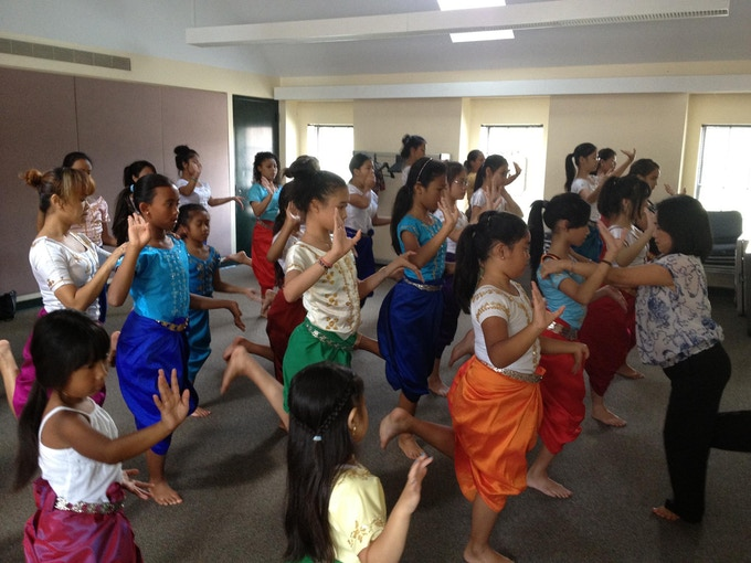 Younger dancers preparing for the Apsara Dancing Stones Pre-Show