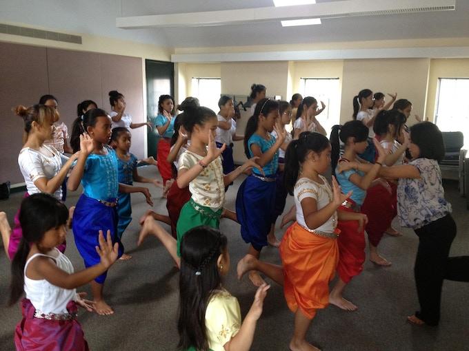 Younger dancers preparing for the Apsara Dancing Stones Pre-Show