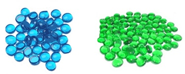 Action tokens: Glass gem samples of possible color options.