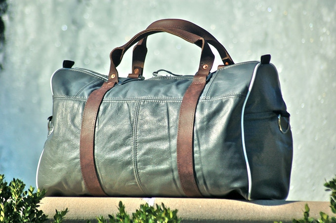 Duffle Bag from Recycled Airplane Leather