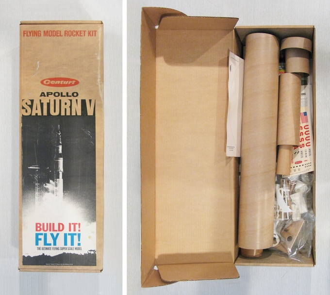 THE 40 YEAR-OLD CENTURI SATURN V KIT NO. 2140 I FOUND ON EBAY. INCREDIBLY IT IS COMPLETE AND EVEN HAS THE ORIGINAL BOTTLE OF CONTACT CEMENT.