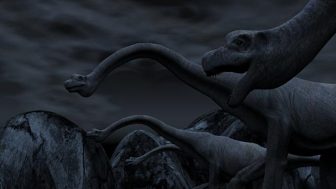 Brachiosaurus herd at night (3D CGI for Dinosaur Island by Ed Isenberg)