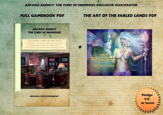 "THE ARTIST: The full PDF version of the gamebook comes with a PDF of bonus art from another of our projects, Fabled Lands.  Also, there are limited ""early adopter"" promo codes as a bonus at the same price (see the TECH SPECIALIST levels on the right)."