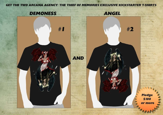 ANGEL AND DEMONESS: Note this reward includes both t-shirts.