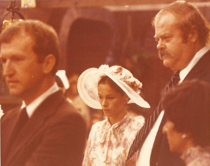 Gerald with Geraldine Chaplin and  Pat McCormick, on the set of Robert Altman's A Wedding, 1978
