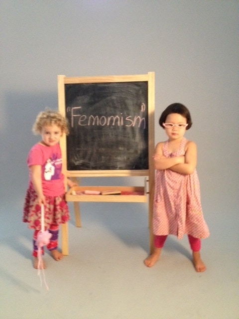 """Daughters Lucy and Scarlett use their magic """"femomist"""" wand in our Kickstarter video!"""