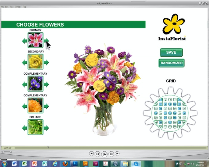 INSTAFLORIST Mobile Game App has (invisible) embedded frameworks that represent perfect arrangement line diagrams. These floral framework diagrams follow the universal core principles of professional floral design: Line, Balance, Color and Shape.