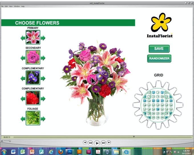 Every arrangement is broken down into thumbnail flower groups (Left) according to the essentials of accredited floral design: These flower groups are typically: Primary, Secondary, Complementary #1, Complementary #2, Accent and Foliage.