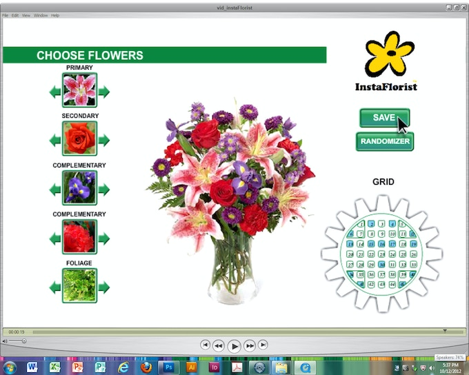Players toggle left or right, from one or more virtual thumbnail flower groups (on the left) to instantly view all available stem selections (in that group) and instantly view selections on the game's main floral arrangement image.