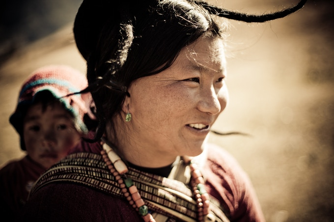A villager and her baby from Sakteng, the Eastern-most village in Bhutan.