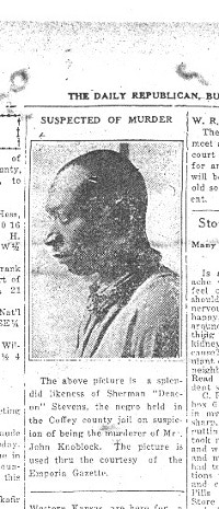"Sherman ""Deacon"" ""Blackie"" Stephens, the first man suspected in Florence Knoblock's murder."