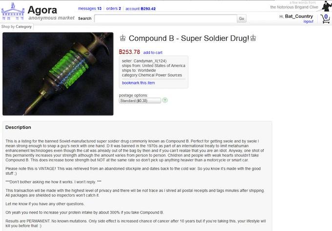 Screenshot from online superpowers black market