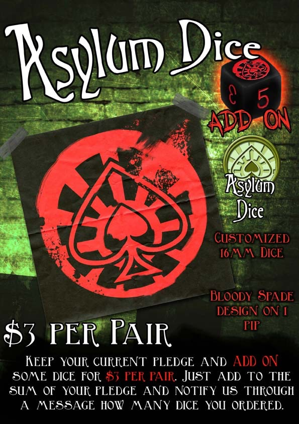 Asylum Dice! Add-on at only $3/pair
