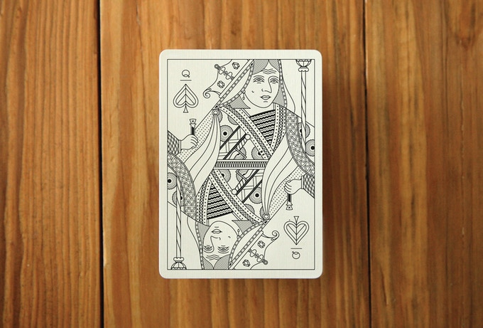A mock up of a Queen card. The Queen of Spades.