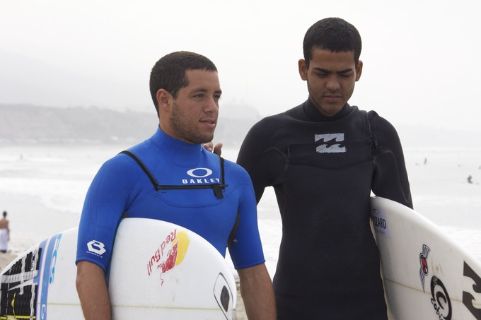 Adriano de Souza at the Hurley Pro with Derek.