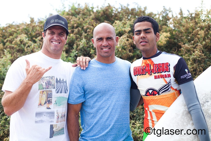 Bryan, 11X World Champ Kelly Slater, and Derek at Lowers in San Clemente.