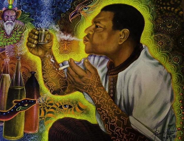 Acryic on canvas painting of Ayahuasquero Ronald Rivera Cachique by artist Felix Pinchi, Pucallpa, Peru