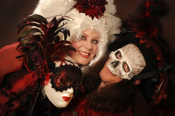 Revellers at The Newtowner Masked Ball