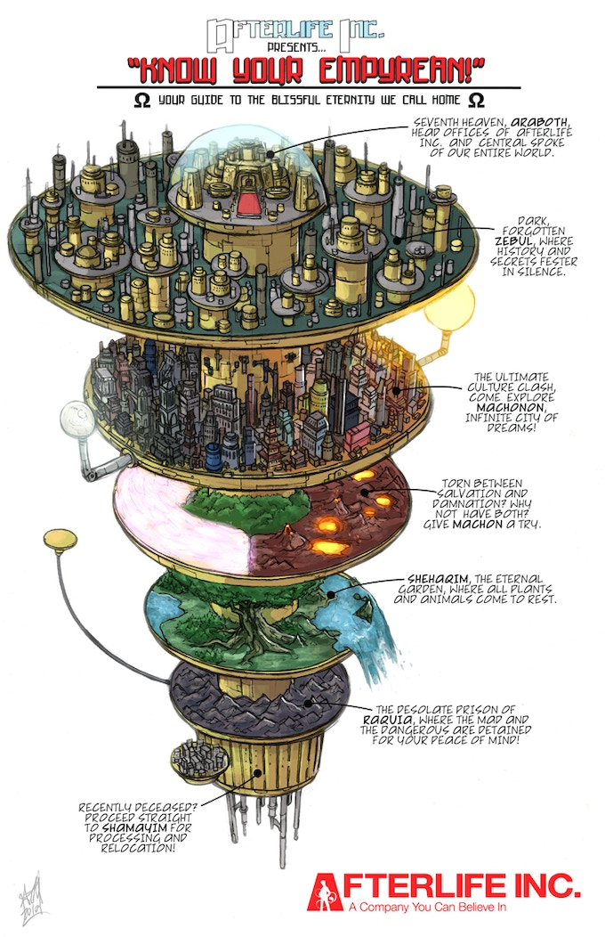 The Empyrean, the seven-tiered afterlife of Afterlife Inc. Art by Ash Jackson