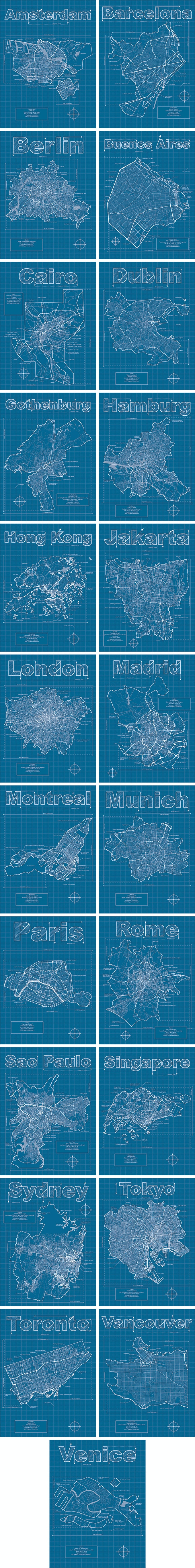 City blueprints artistic city map prints by christopher estes international cities malvernweather Gallery