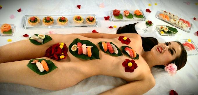 Nyotaimori (Body Sushi) by Sushi Artist Vu Nguyen at his