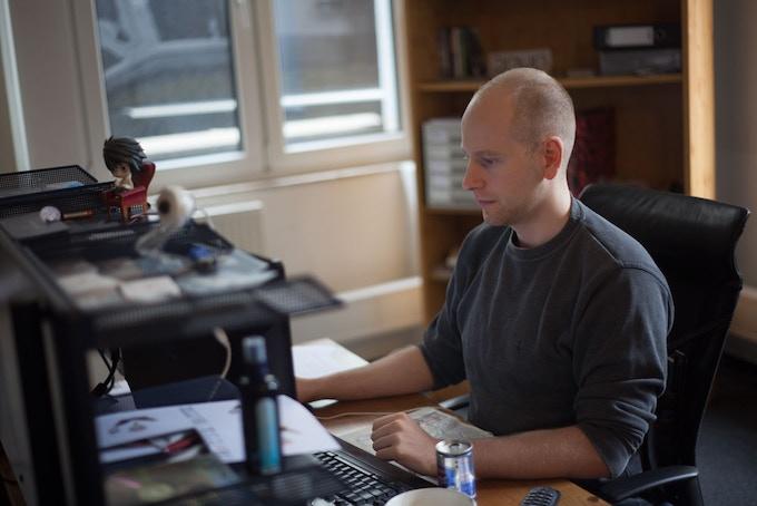 Anton working