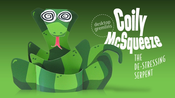 Introducing Coily McSqueeze - the astonishing de-stressing serpent. This brand-new Desktop Gremlin is exclusive to the book!