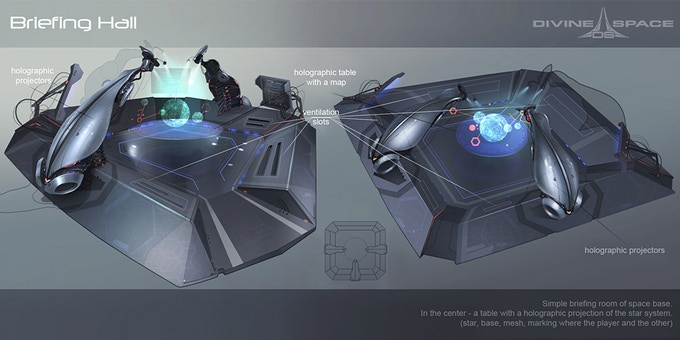 Briefing Hall concept-art. Place to meet other pilots and achieve quests.