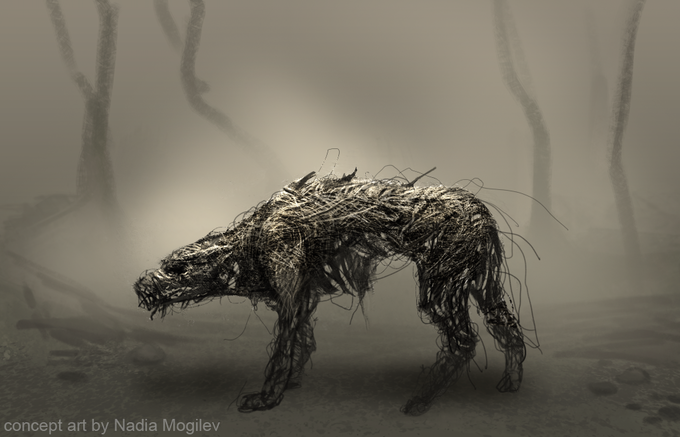 """concept art of """"demon dog"""", one of the waking visons that haunt the vagrant."""